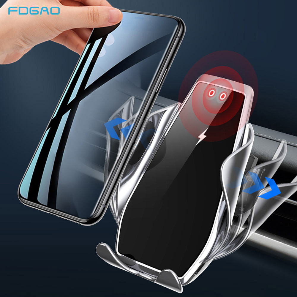 FDGAO Automatic Clamping 15W Fast Car Wireless Charger for Samsung S20 S10 iPhone 11 XS XR X Infrared Sensor Phone Mount Holder