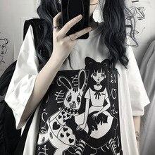 Harajuku t camisa estética do punk gótico dos desenhos animados manga curta o pescoço topos feminino solto oversized roupas de rua camisetas gráficas