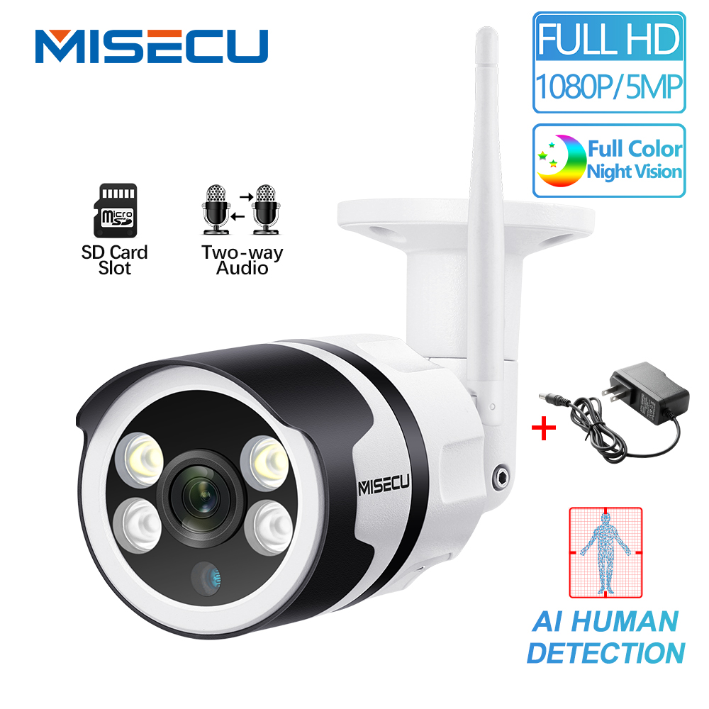 MISECU H.265 5.0MP 1080P WIFI IP Camera AI Human Detection Two Way Audio Outdoor P2P Full Color Night Vision P2P Wireless Wired