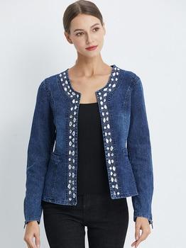 FMFSSOM 2021 New Arrival Spring Autumn Denim Jackets Vintage Diamonds Casual Coat Women's Short Jacket Outerwear Jeans 1