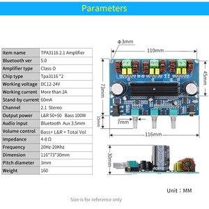Image 2 - UNISIAN Bluetooth 5.0 TPA3116 2.1 Audio Power Amplifier Board 50Wx2+Bass 100W TPA3116D2 HIFI Digital 2.1 Chennels Home Amplifier