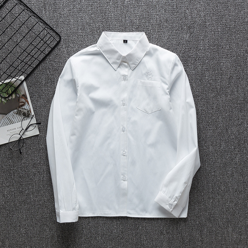 School Dress Long Sleeve Women White Shirt Women Japanese Student Girls And Boy Uniform Top Large-Size XS-5XL Unicorn JK Uniform