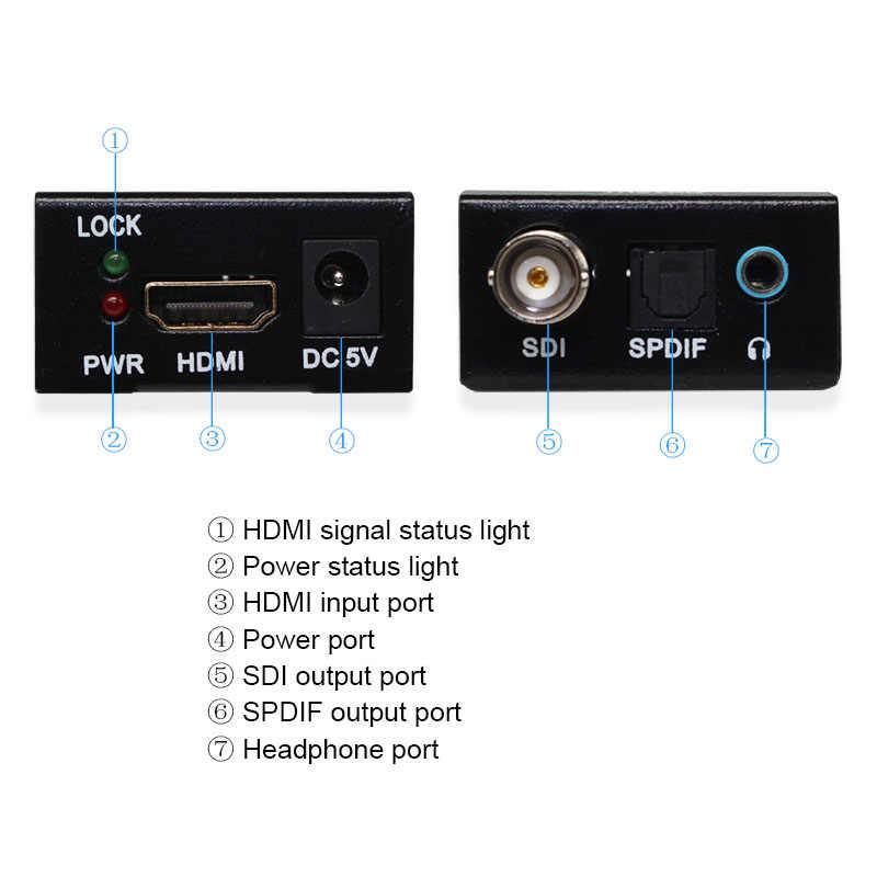 HDMI do SDI z zasilaniem Mini 3G HD 1080P SD-SDI konwerter wideo dla kamery r z portem Spdif, gniazdo słuchawkowe