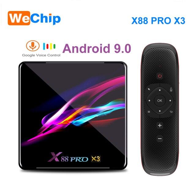 TV Box X88 Pro X3 ، Android 9.0 ، وحدة فك ترميز الإشارة مع Amlogic S905X3 ، رباعي النواة ، واي فاي مزدوج ، BT ، Lan 1000M ، 1080P ، HD ، متوافق مع مشغل الوسائط ثلاثي الأبعاد