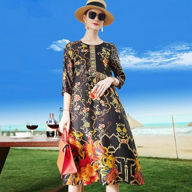 Female Silk Loose 2021 Summer Vintage Floral Print O-neck Casual Elegant Women Dress Plus Size M-4XL Ladies Clothing Vestidos 4