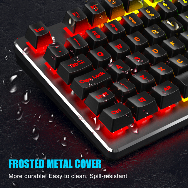 RedThunder K800 RGB Gaming Keyboard and Mouse, Sim-Mechanical Metal Cover, 6400DPI 7 Programmable Button for PC RU ES FR 5