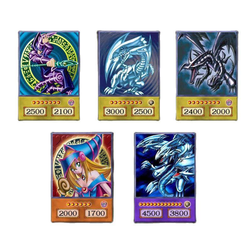 14pcs Yu-Gi-Oh! Cartões de estilo anime mágico escuro exodia obelisco slifer ra yugioh dm clássico orica cartão proxy memória da infância