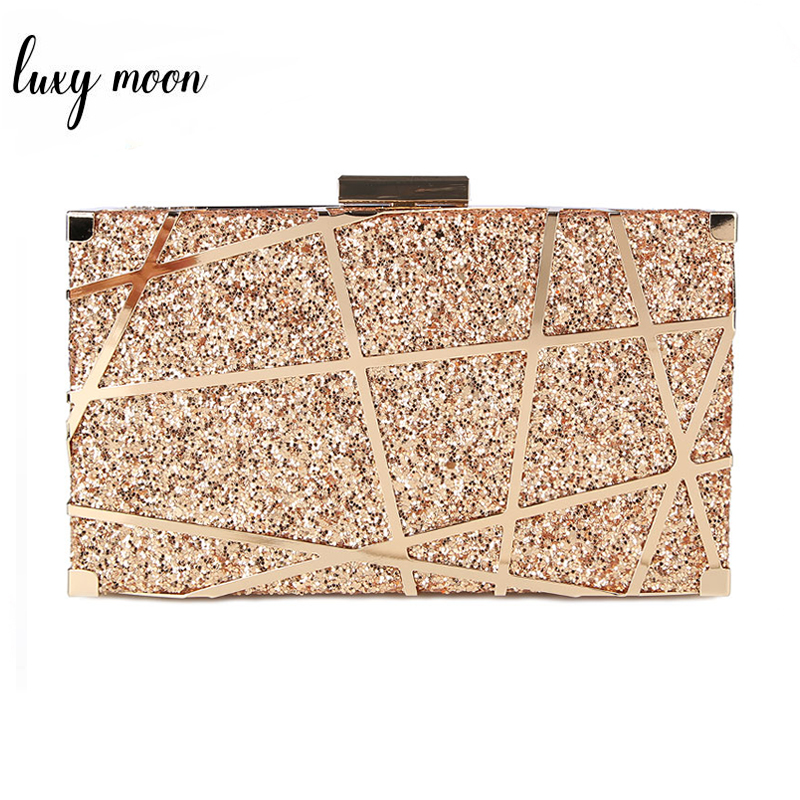 Sequined Clutch Bag Female Luxury Evening Bags Metal Chain Handbag Women Day Clutches Wedding Banquet Purse And Handbag ZD1149