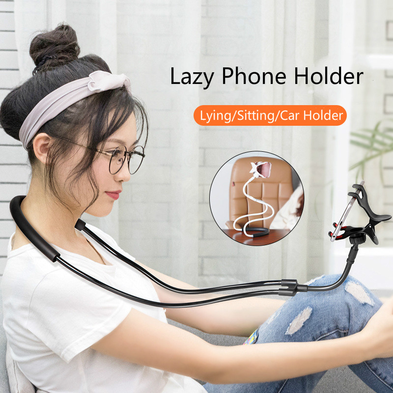 Popular Flexible Mobile Phone Holder Hanging Neck Lazy Necklace Bracket 360 Degree Phones Holder Stand For IPhone Xiaomi Huawei