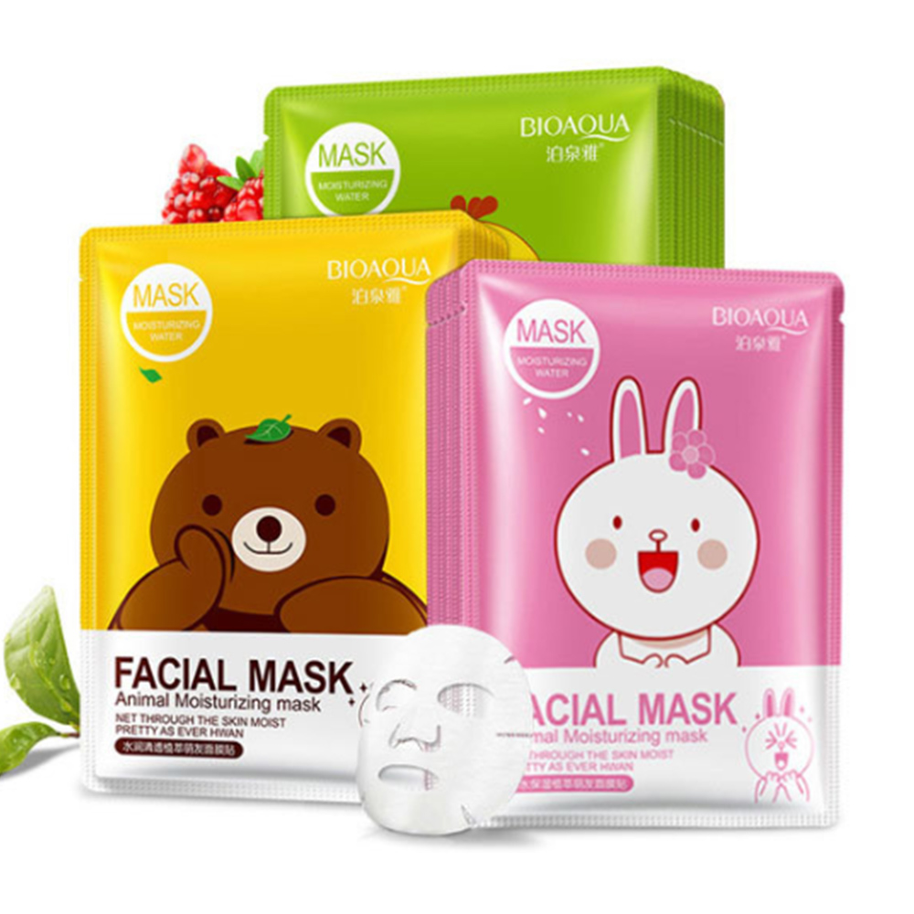 BIOAQUA 1PC Cartoon Animal Moisturizing Face Facial Mask Fresh Anti-Acne Plant Extract Oil Control Hydrating Sheet Face Mask image