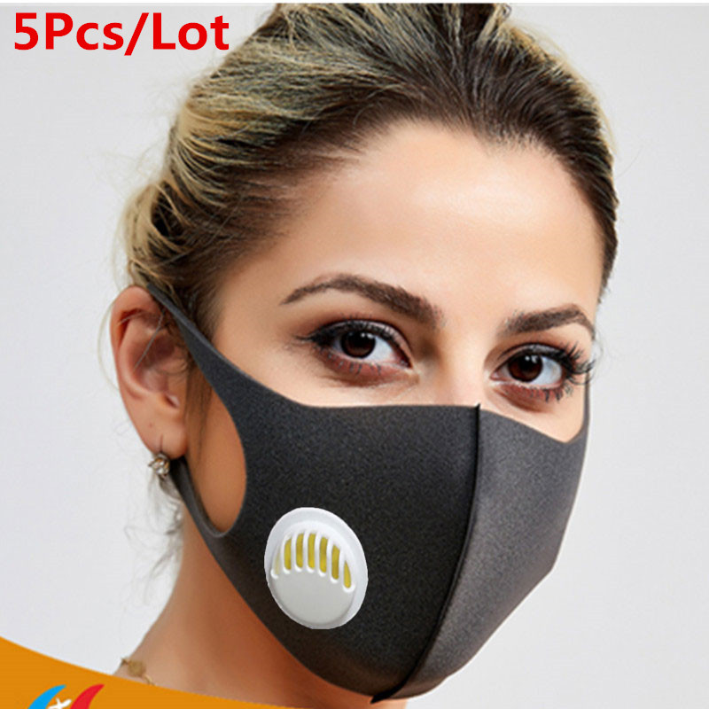 5 Pcs/Lot Black Respirator Mask With Breathing Valve Washable Activated Carbon Windproof Mouth Masks Anti Dust Proof Masks