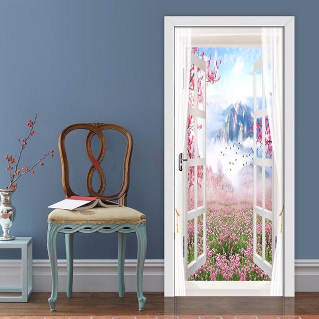 Купить 3d настенная наклейка на дверь декорации снаружи окна обои для картинки цена