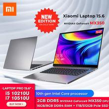 Новое издание оригинальный xiao Mi ноутбук Pro 15,6 дюймов i7-10510U / i5-10210U MX350 с 16 ГБ/8 Гб оперативной памяти 512/1 ТБ SSD 100% sRGB компьютер