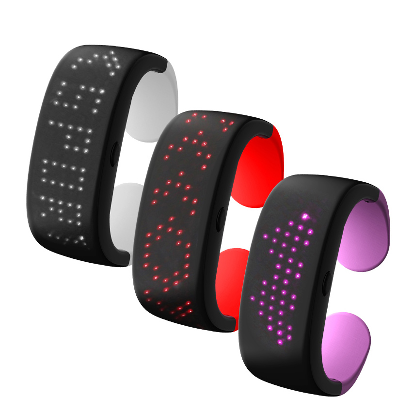 Colorful Display Dynamic LED Glowing Bracelets Light Up Wrist Bracelet With 9 Modes Choice For Running, Cycling, Hiking, Jogging