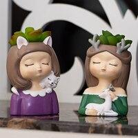 Neue Kreative Design Sukkulenten Topf Home Garten Cartoon Mädchen Figurine Pflanze Blume Topf Home Desktop Pflanzer Vase Set