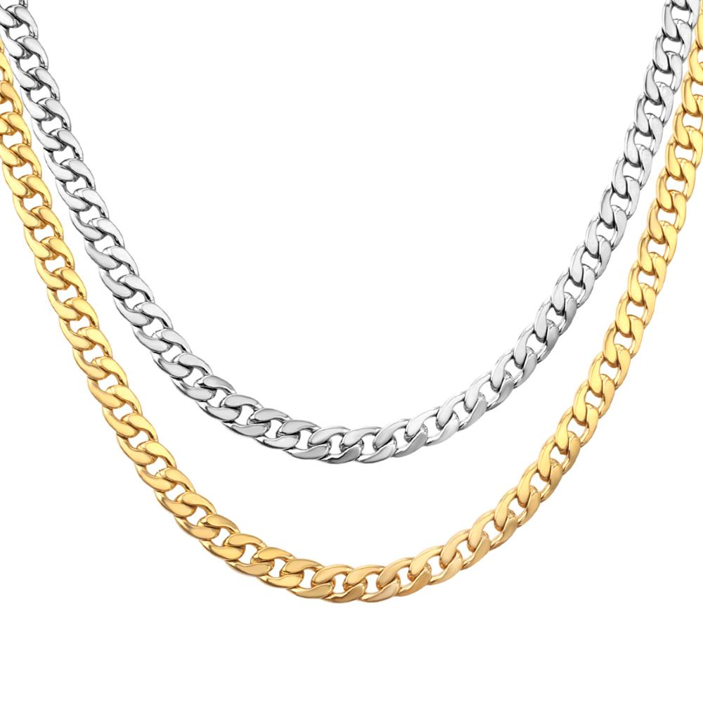 LUXUKISSKIDS Gold Chain Necklace For Men Women 5mm/7mm Stainless Steel Necklaces Set Long Chain For Jewelry Making Wholesale