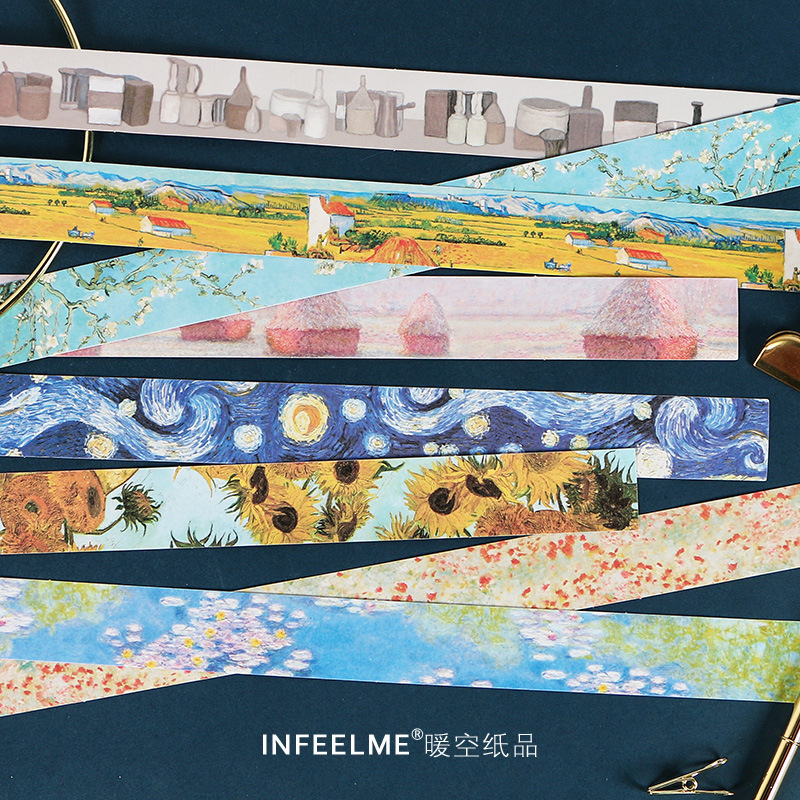 Classical Style Strip And Washi Tape Sticker A Series Of Famous Paintings By Artists Aesthete Stationery Scrapbook Decoration