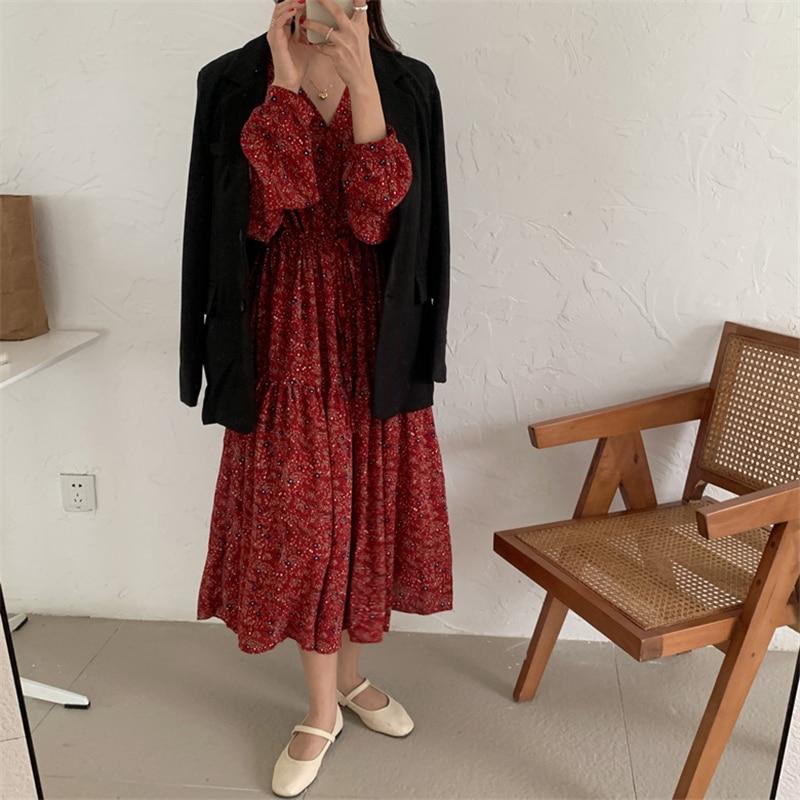 H68a07c91e24540ea9dfe9ecde05e3761E - Autumn V-Neck Lantern Sleeves Waist-Controlled Floral Print Midi Dress