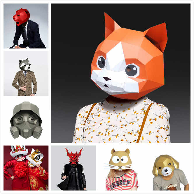 Paper Mask 3d Animal Head Series One Costume Cosplay DIY Paper Craft Model Mask Christmas Halloween Prom Party Gift