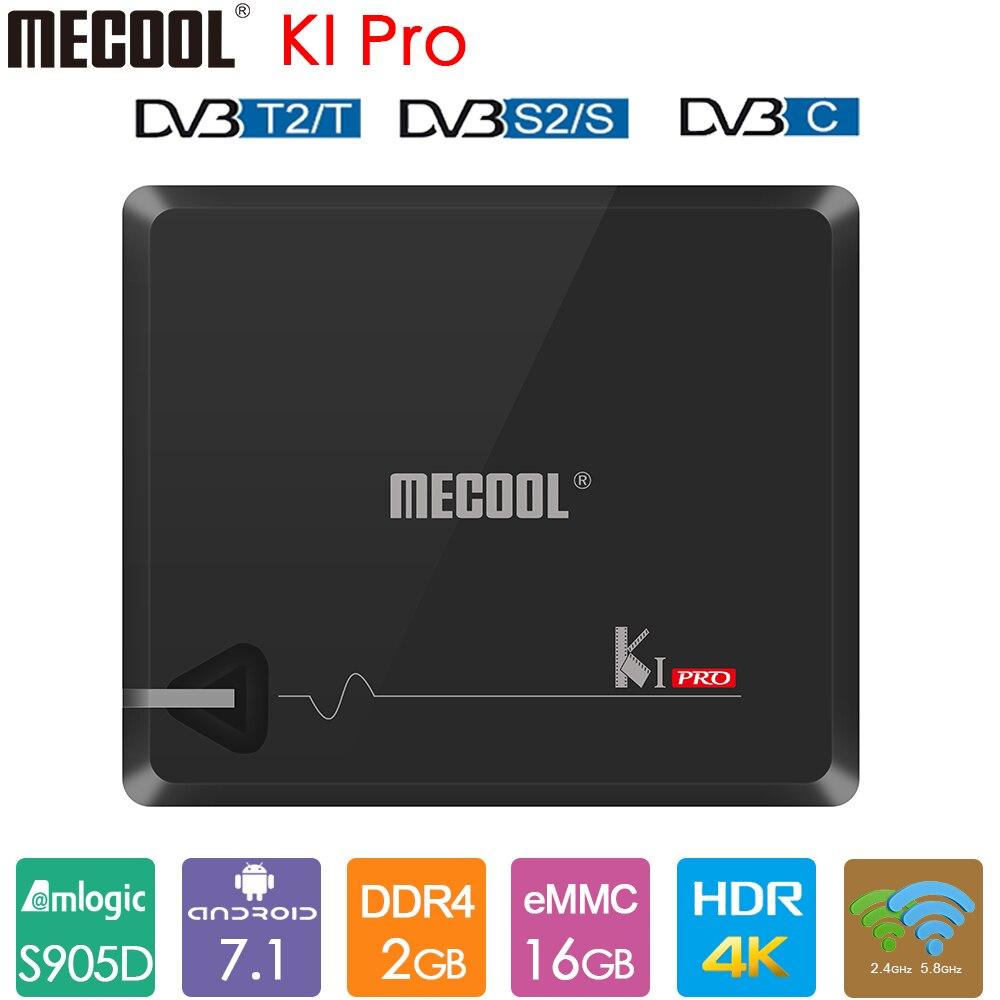 MECOOL KI PRO DVB-T2 Android TV Box Amlogic S905D 2GB DDR4 16GB DVB-S2/S Set Top Box 2,4G 5G WiFi BT4.1 4K DVB-C Media Palyer