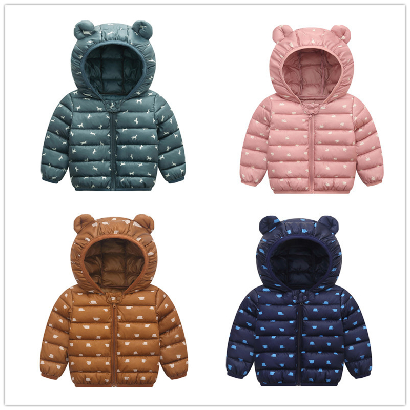 Kid Down Coats Infant Clothes Outdoor Hooded Coats Baby Girls Boys Cartoon Print Jackets Autumn Winter Warm Outerwear 3-24M
