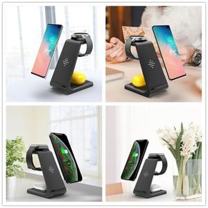 Image 4 - Беспроводное зарядное устройство 3 в 1 10 Вт для iPhone 11 Pro XR 8 Samsung S10, док станция беспроводного зарядного устройства для Airpods Pro Apple Watch 5 4 3 2