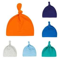Хлопковые повязки с узлом для новорожденных, однотонный яркий цвет, шапочки для маленьких девочек, Чепчики для сна
