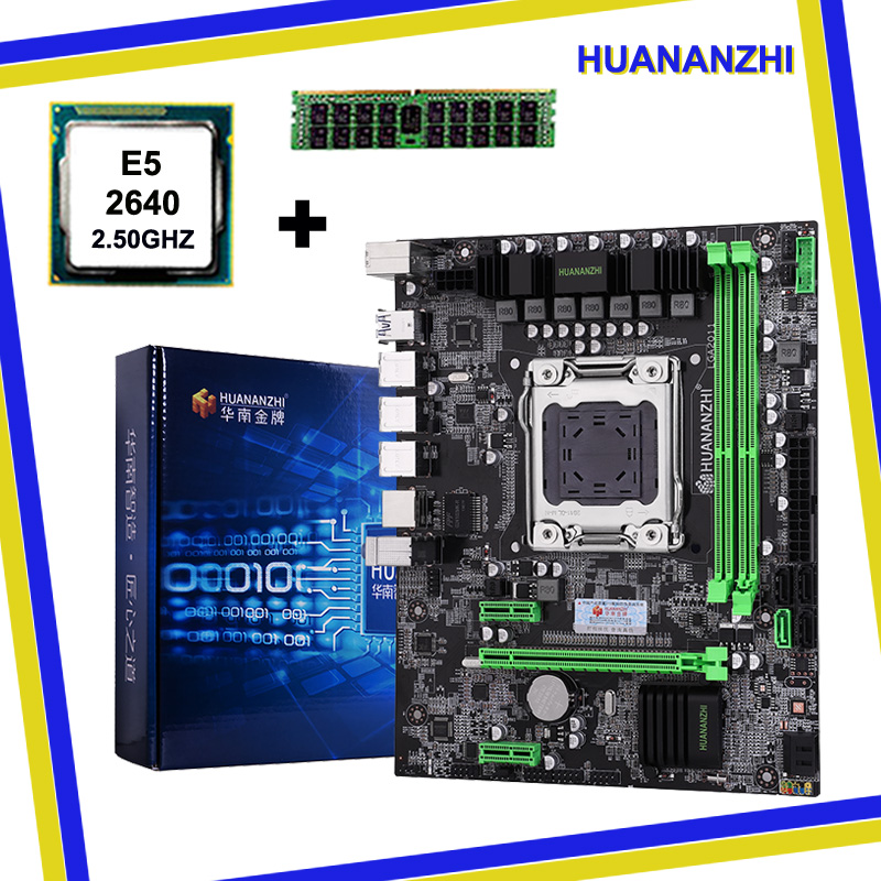 HUANAN X79 motherboard CPU RAM combos LGA 2011 Xeon E5 2640 8G DDR3 REG ECC support 2*8G at the most