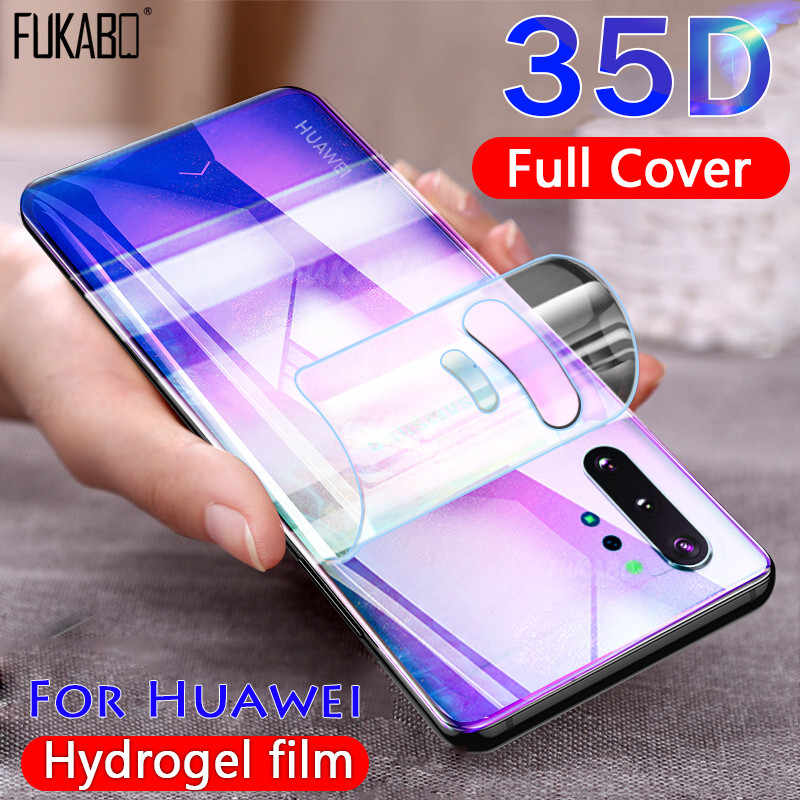 35D Full Cover Hydrogel Film For Huawei P30 P20 Mate 20 10 Lite Honor 9X Pro P Smart 2019 Screen Protector Back Film Not Glass