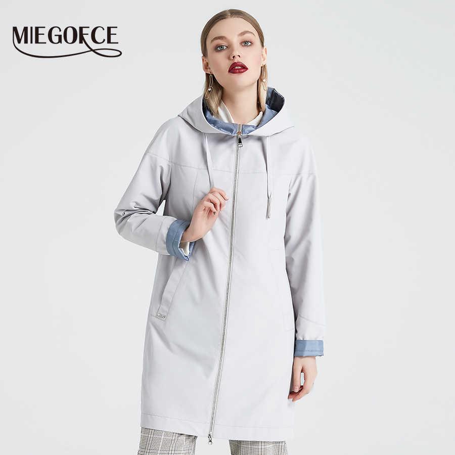 Miegofce 2019 Musim Semi Wanita Mantel Berdiri Kerah Hooded Wanita Slim Sintetis Musim Dingin Wanita Mantel Desain Baru