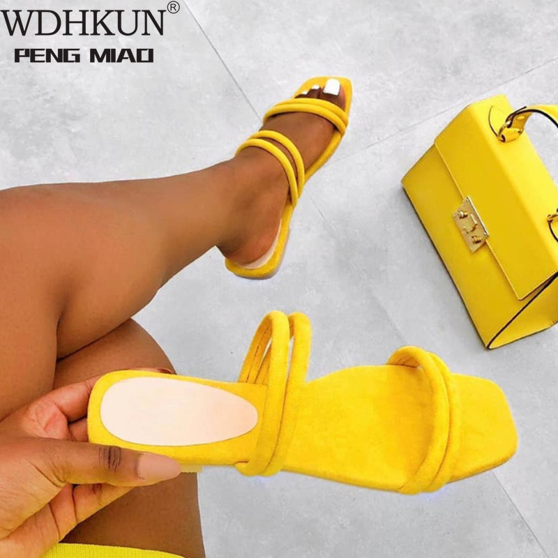 Women Flat Slippers Summer Candy Color Non Slip Ladies Slides Outside Narrow Band Fashion Comfortable Slip On New Female Shoes