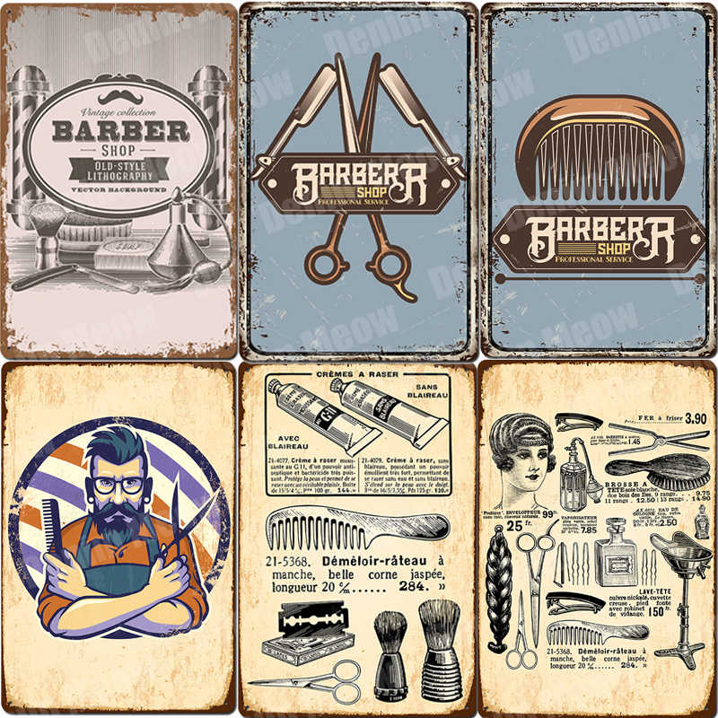 Bezuinigingen Scheert Plaque Vintage Metalen Tin Borden Bar Pub Barbershop Decor Kapsel Haircare Service Wall Art Stickers Beste Cadeau N327