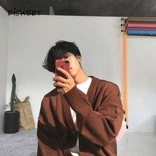 Pull tricoté à manches longues et col en v pour homme, chandail à simple boutonnage, ample, de couleur unie, de style coréen