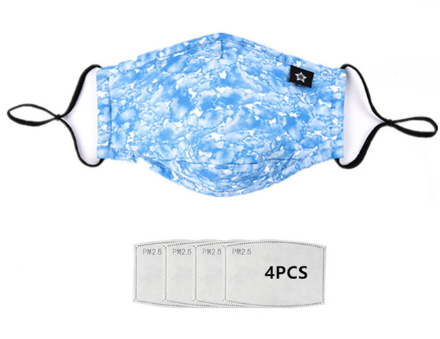 men women fashion blue Cotton fabric PM2.5 protective face dust mask with 4pcs Carbon filter anti proof Flu mouth masks washable 1