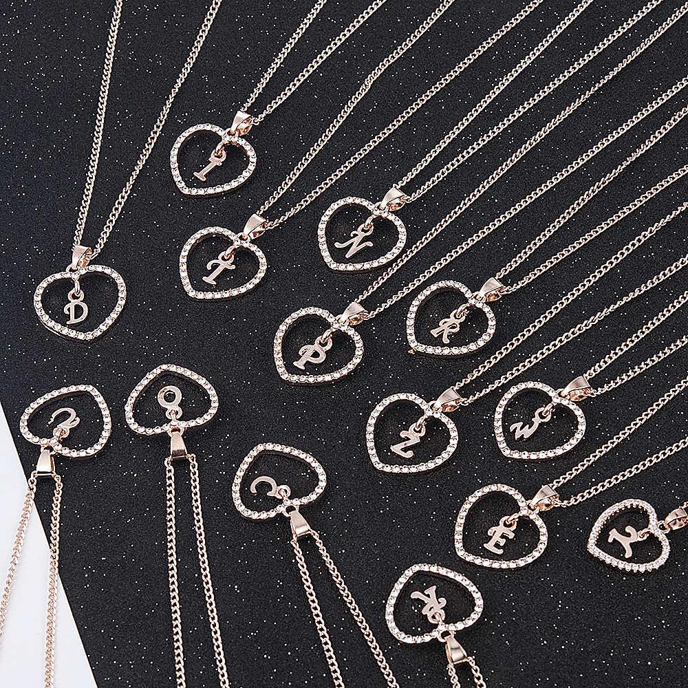 Amor romântico pingente colar para meninas 2019 feminino strass carta inicial colar alfabeto colares de ouro na moda novos encantos