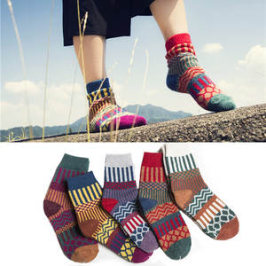 Female Socks Warm Colorful Striped Winter Thick Retro Ethnic No Snow-Boots Christmas