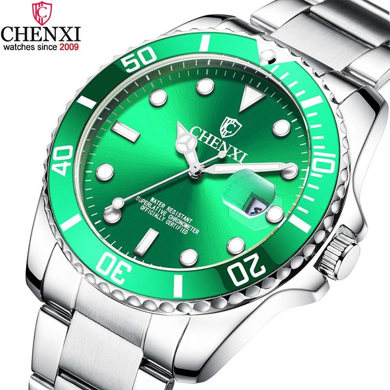 Movimento à Prova Relógio de Pulso do Esporte do Homem de Negócios Chenxi Luxo Prata Relógios Masculinos Clássico Verde Aço Inoxidável Japão Dwaterproof Água Casual