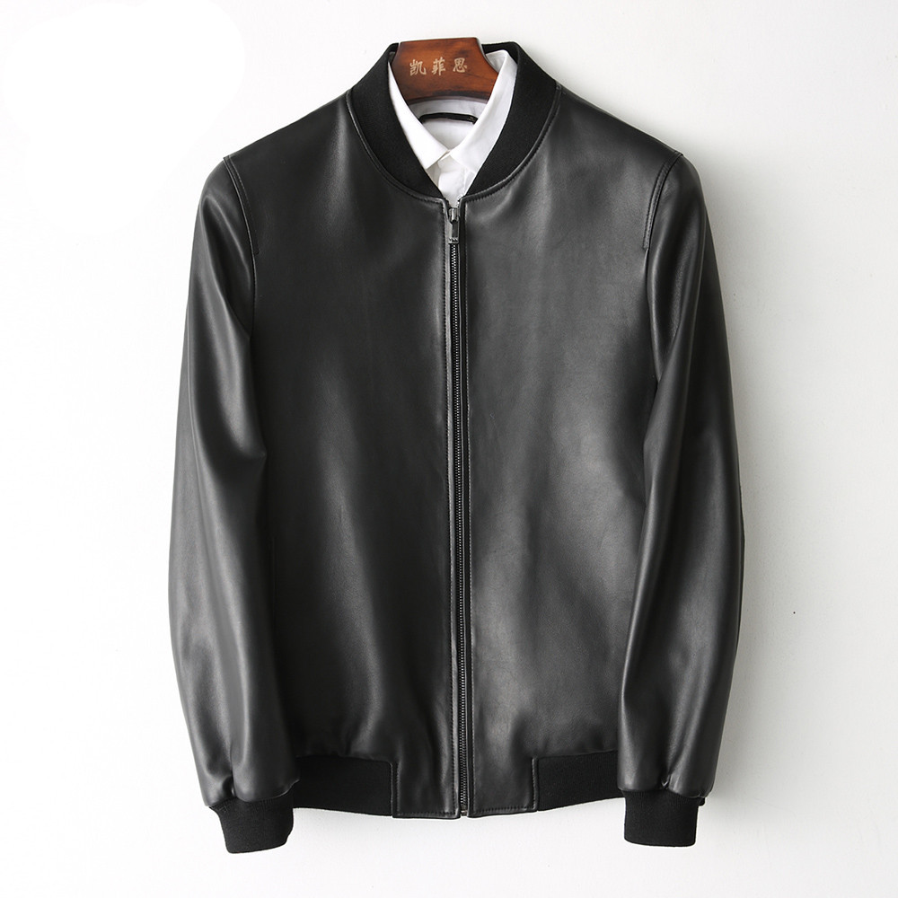 Genuine Leather Coat Men Real Sheepskin Leather Baseball Jacket Spring Autumn Plus Size Streetwear KFS180196-2 MF118