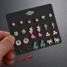 MissCyCy 12Pairs/lot Cute Animal Stud Earrings Set For Children Women Owl Rabbit