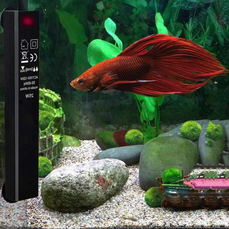 بيتا الأسماك مسخن الخزان 25 واط حوض سمك صغير سخانات الطاقة كفاءة المياه دفئا متحكم في درجة الحرارة منظم حراري ذكي