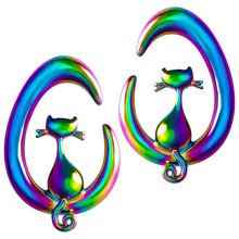 1pair Cat on The Moon Ear Weights Women 316L Stainless Steel Cool Heavy Dangle Gauges for Piercings Body Jewelry