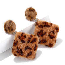 Earrings Retro Square Leopard Japanese Korean Style Cute Hair Ball Winter Drop For Women Girls Best Christmas Gift