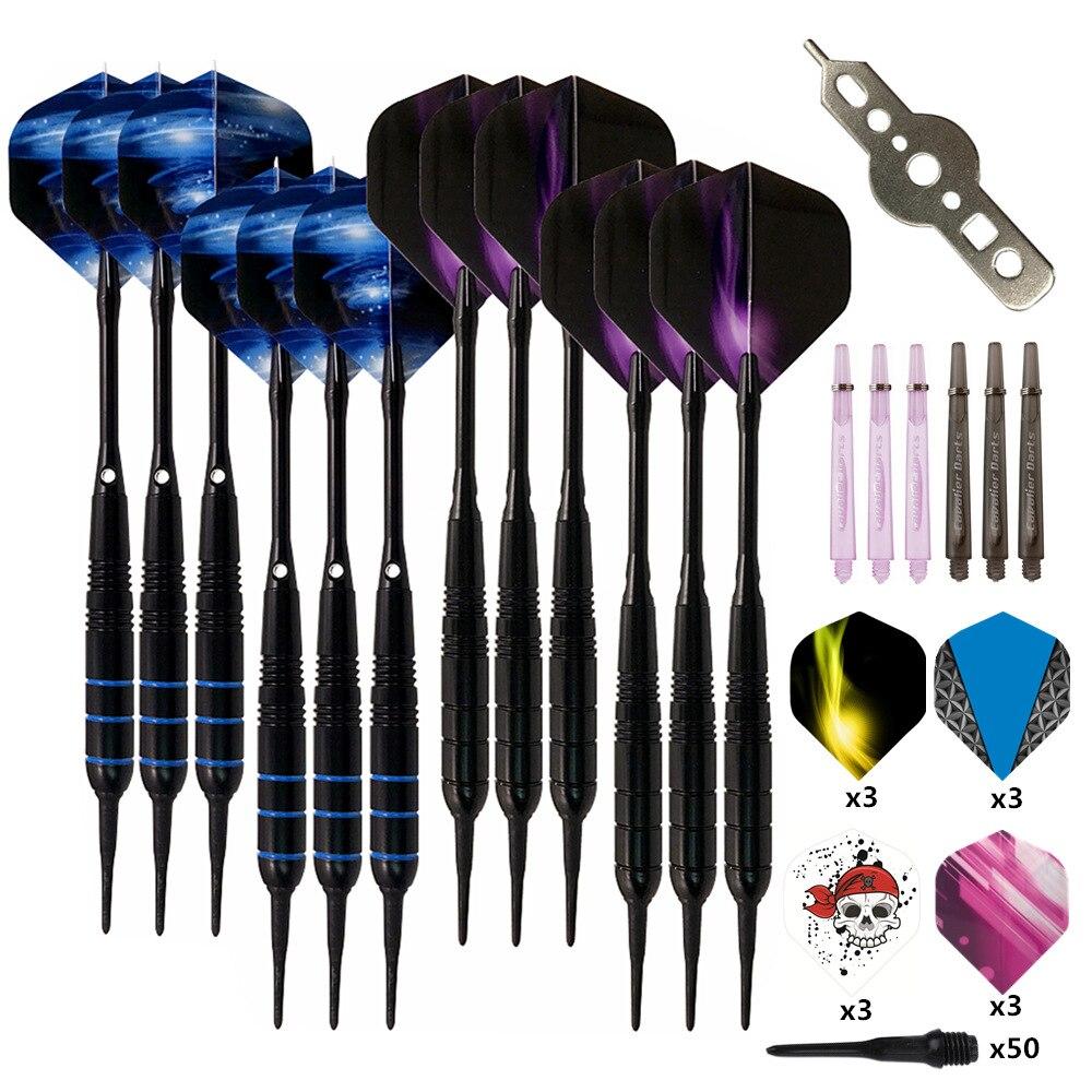 12Pcs/set Professional Electronic Soft Tip Darts 19g Darts With Aluminum Alloy Shaft Dardos 4 Colors