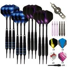 Fléchettes professionnelles à pointe souple électronique, 12 pièces/ensemble, 19g avec manche en alliage daluminium, 4 couleurs