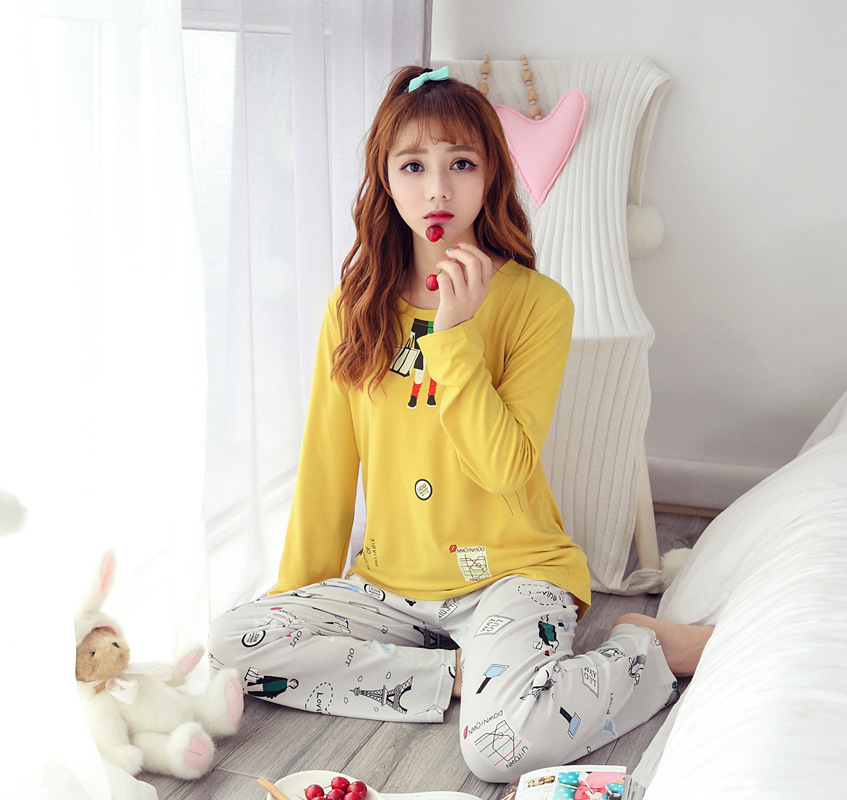 [Htc Sheng] Spring And Autumn Pajamas Women's Paris Eiffel Tower Yellow Long-sleeve Crew Neck Home Wear