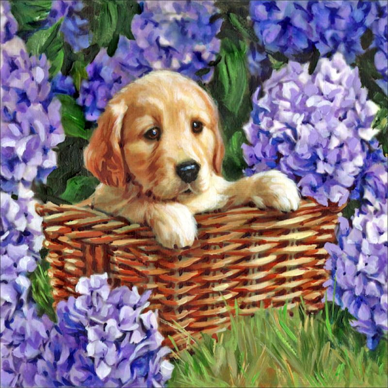 Kneeling Dog DIY 5D Full Drill Diamond Painting Embroidery Crystal Cross Stitch