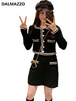 2019 Newest Autumn Fashion Women Peter Pan Collar Pearls Knit Package hip Skirt Suit Short Coat Tops + Skirt Suits 2 Pieces Sets