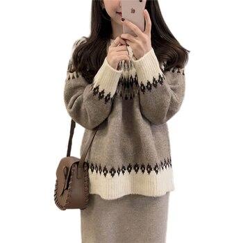 NiceMix Autumn Vintage Sweater Women Casual Pullovers Geometric Jumpers Argyle Knitwear Korean Streetwear Pull Femme Hiver 2020