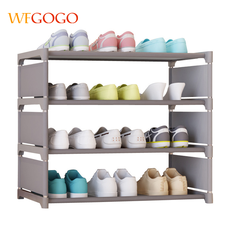 Multicolor Simple Shoe Cabinets Ironwork Assembly Of Shoe Rack With Modern Simple Dustproof Shoe Cabinet Four Floors 50cm Hight