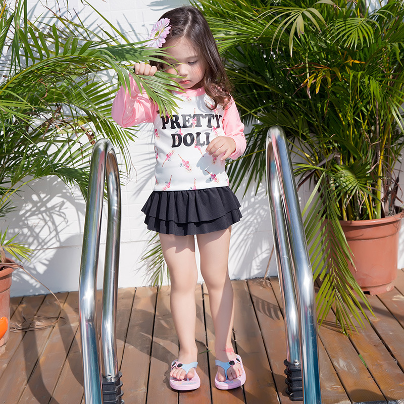 New Style KID'S Swimwear Korean-style Long Sleeve Sun-resistant Girls' Two-piece Swimsuit Cute Barbie Baby Girls Bathing Suit